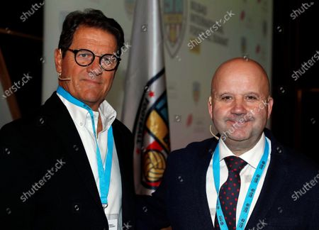 Italian former head coach and former player Fabio Capello (L) and Spanish News Agency EFE's sports director and host of the gala, Luis Villarejo (R), pose for the media during the 4th Bilbao International Football Summit (BIFS'20) held in Bilbao, Basque Country, Spain, 13 February 2020.