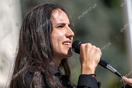 Stock Image of Environmental activist and hip hop artist Xiuhtezcatl Martinez speaks as a national surrogate of Democratic presidential candidate Sen. Bernie Sanders at Cal State University Fullerton.