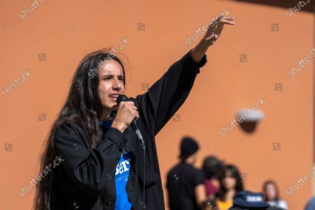 Stock Photo of Environmental activist and hip hop artist Xiuhtezcatl Martinez speaks as a national surrogate of Democratic presidential candidate Sen. Bernie Sanders at Cal State University Fullerton.