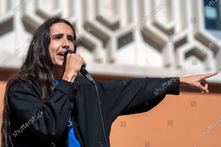 Stock Picture of Environmental activist and hip hop artist Xiuhtezcatl Martinez speaks as a national surrogate of Democratic presidential candidate Sen. Bernie Sanders at Cal State University Fullerton.