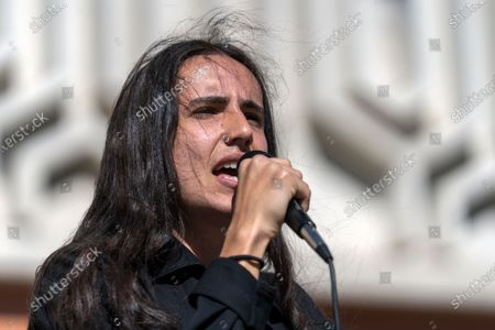 Environmental activist and hip hop artist Xiuhtezcatl Martinez speaks as a national surrogate of Democratic presidential candidate Sen. Bernie Sanders at Cal State University Fullerton.
