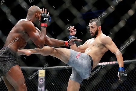 Jon Jones, left, and Dominick Reyes, right, during a light heavyweight mixed martial arts bout at UFC 247, in Houston