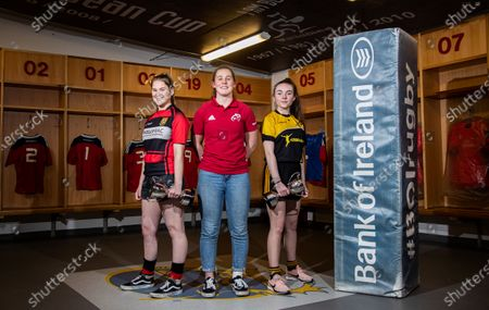 Pictured (L-R) Aoife Corey (Ennis RFC), Munster Women's Enya Breen and Erin Riordan (Abbeyfeale RFC)