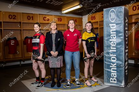 Pictured (L-R) Aoife Corey (Ennis RFC), Munster Women's Committee Chairperson Wendy Keenan, Munster Women's Enya Breen and Erin Riordan (Abbeyfeale RFC)