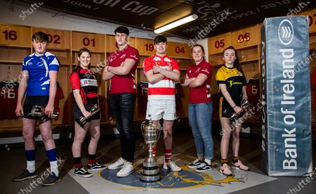 Pictured (L-R) Brendan Twohig (Bandon RFC), Aoife Corey (Ennis RFC), Eoin O'Connor, Jonathan Benn (Skibbereen RFC), Enya Breen, and Erin Riordan (Abbeyfeale RFC)
