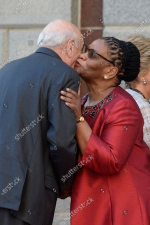 Frederik Willem de Klerk (L), Former State President of South Africa, is greeted by Thandi Modise (R), Speaker of the National Assembly of South Africa, during the annual State of the Nation (SONA) address and opening of the national parliament in Cape Town, South Africa, 13 February 2020.
