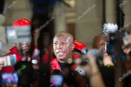 Julius Malema, leader of the Economic Freedom Fighters (EFF) political party, speaks to members of the media after the EFF disrupted the State of the Nation Address and then decided to leave before South African President Cyril Ramaphosa delivered his address, Cape Town, South Africa, 13 February  2020. The EFF were protesting against the presence of FW de Klerk, former South African President and Pravin Gordhan, the current Minister of State Owned Enterprises
