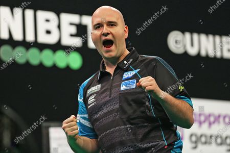 Rob Cross wins a leg and celebrates during the Unibet Premier League Darts at Motorpoint Arena, Nottingham