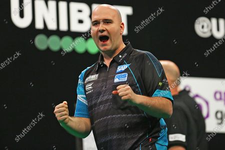 Rob Cross celebrates beating Nathan Aspinall during the Unibet Premier League Darts at Motorpoint Arena, Nottingham