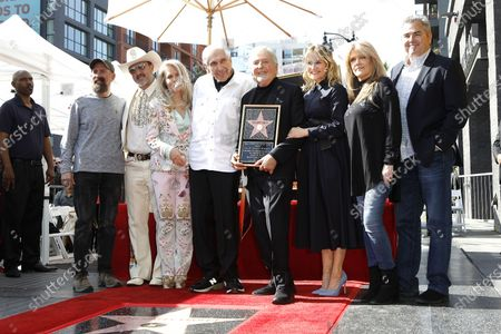 Greg Garcia, David Arquette, Beverly D'Angelo, Sid Krofft, Marty Krofft, Maureen McCormick, Susan Olsen, Christopher Knight during a star ceremony honoring Canadian puppeteers Sid and Marty Krofft with the 2687th star on the Hollywood Walk of Fame in Los Angeles, California, USA, 13 February 2020. The star is dedicated in the category of Television.