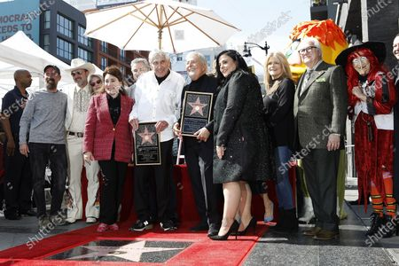 Stock Image of Greg Garcia, David Arquette, Beverly D'Angelo, Donelle Dadigan, Christopher Knight, Sid Krofft, Marty Krofft, Maureen McCormick, Susan Olsen during a star ceremony honoring Canadian puppeteers Sid and Marty Krofft with the 2687th star on the Hollywood Walk of Fame in Los Angeles, California, USA, 13 February 2020. The star is dedicated in the category of Television.