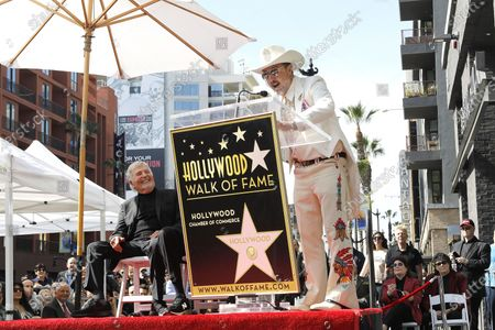 Sid Krofft reacts as David Arquette speaks during a star ceremony honoring Canadian puppeteers Sid and Marty Krofft with the 2687th star on the Hollywood Walk of Fame in Los Angeles, California, USA, 13 February 2020. The star is dedicated in the category of Television.