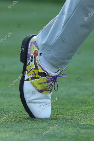 Steve Stricker wears golf shoes with Kobe Bryant on them in round one of the Genesis Invitational at The Riviera Country Club in Pacific Palisades, California, USA, 13 February 2020.