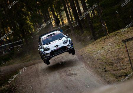 Stock Photo of Jari-Matti Latvala of Finland drives his Toyota Yaris WRC at the shakedown