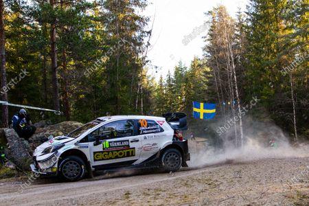 Jari-Matti Latvala of Finland drives his Toyota Yaris WRC at the shakedown