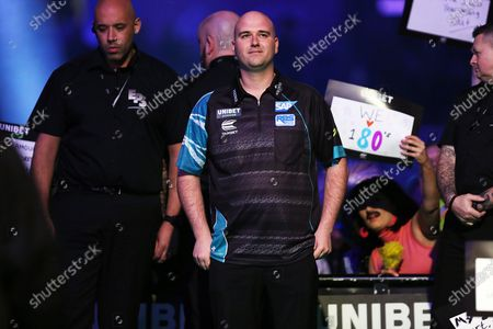 Rob Cross walks to the stage during the Unibet Premier League Darts at Motorpoint Arena, Nottingham