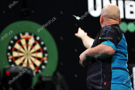 Rob Cross throws a dart during the Unibet Premier League Darts at Motorpoint Arena, Nottingham