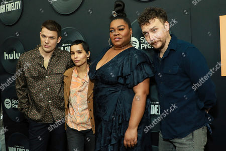 "Jake Lacy, Zoe Kravitz, Nick Hornby, Da'Vine Joy Randolph, David H. Holmes attend the premiere of Hulu's ""High Fidelity"" at Metrograph, in New York"