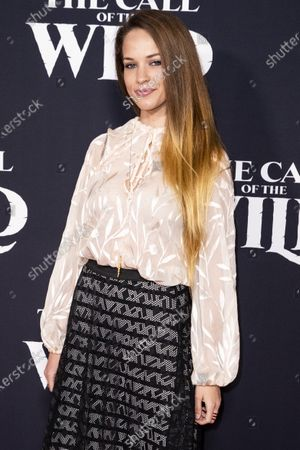 Alexis Knapp poses on the red carpet prior to the world premiere of 20th Century Studios' film 'The Call of the Wild' at El Capitan Theater in Hollywood, California, USA, 13 February 2020. The film will be released in the USA on 21 February.