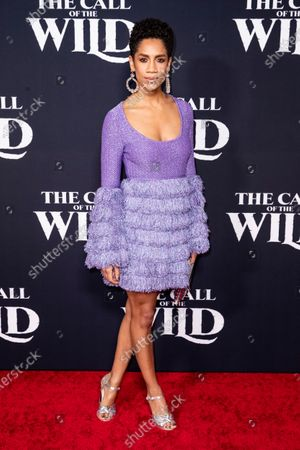 Stock Image of Dominique Tipper poses on the red carpet prior to the world premiere of 20th Century Studios' film 'The Call of the Wild' at El Capitan Theater in Hollywood, California, USA, 13 February 2020. The film will be released in the USA on 21 February.