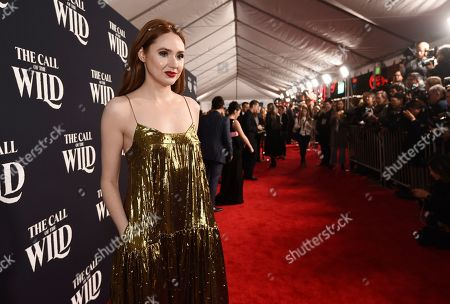 "Karen Gillan, a cast member in ""The Call of the Wild,"" poses at the premiere of the film at the El Capitan Theatre, in Los Angeles"