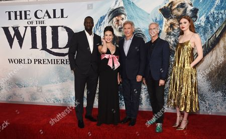 "Stock Photo of Chris Sanders, Harrison Ford, Omar Sy, Cara Gee, Karen Gillan. Chris Sanders, second from right, director of ""The Call of the Wild,"" poses with cast members, from left, Omar Sy, Cara Gee, Harrison Ford and Karen Gillan at the premiere of the film at the El Capitan Theatre, in Los Angeles"