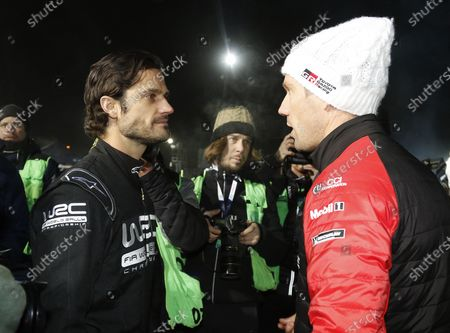 Prince Carl Philip with French driver Sebastien Ogier at the opening ceremony of Rally Sweden 2020 in Karlstad