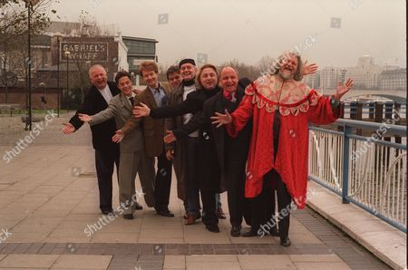 Eligible Bachelors Dinner And Auction In Aid Of The National Playing Fields Association At Riverside Bistro Oxo Tower. Left To Right Christopher Biggins Justin Etzin Ian Wisniewski Lord Porchester (now 8th Earl Carnarvon) Tom Gilbey David Emanuel Aldo Zilli Anmd The Marquess Of Bath