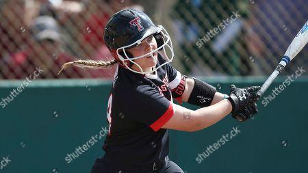 Texas Tech's Breanna Russell bats during an NCAA softball game against South Carolina, in Clearwater, Fla. Texas Tech won 5-1. AP Photo/Vera Nieuwenhuis