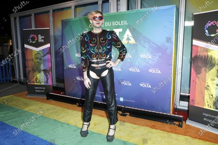 Stock Picture of Jacob Tobia arrives at the Cirque Du Soleil VOLTA Equality Night Benefiting the Los Angeles LGBT Center, at Dodger Stadium in Los Angeles, California, USA, 13 February 2020.