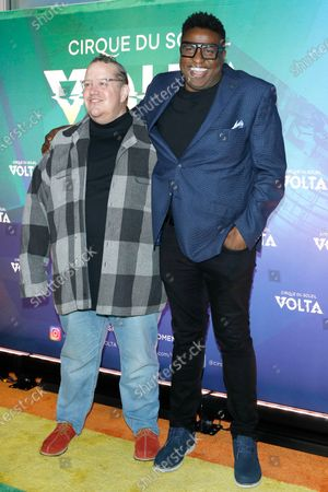 Stock Photo of Paul Vogt (L) and Michael-Leon Wooley arrive at the Cirque Du Soleil VOLTA Equality Night Benefiting the Los Angeles LGBT Center, at Dodger Stadium in Los Angeles, California, USA, 13 February 2020.