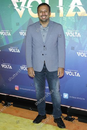 Stock Photo of Rizwan Manji arrives at the Cirque Du Soleil VOLTA Equality Night Benefiting the Los Angeles LGBT Center, at Dodger Stadium in Los Angeles, California, USA, 13 February 2020.