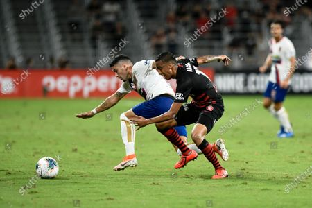 15th February 2020; Bankwest Stadium, Parramatta, New South Wales, Australia, Australian A League football, Western Sydney Wanderers versus Newcastle Jets; Dimitri Petratos of Newcastle Jets loses the ball under pressure from Keanu Baccus of Western Sydney Wanderers