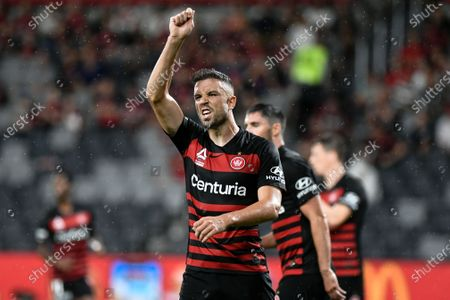 15th February 2020; Bankwest Stadium, Parramatta, New South Wales, Australia, Australian A League football, Western Sydney Wanderers versus Newcastle Jets; Matthew Jurman of Western Sydney Wanderers appeals for a card with the linesman