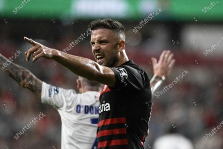 15th February 2020; Bankwest Stadium, Parramatta, New South Wales, Australia, Australian A League football, Western Sydney Wanderers versus Newcastle Jets; Matthew Jurman of Western Sydney Wanderers disputes a decision by the linesman