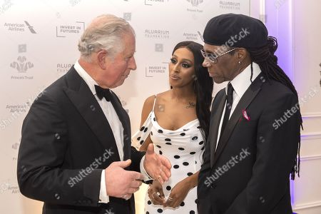 Stock Picture of Prince Charles with Alexandra Burke and Nile Rogers