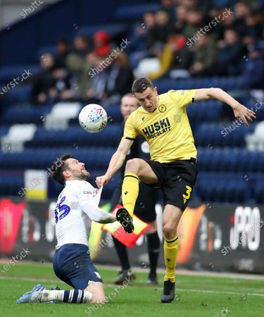 15th February 2020; Deepdale Stadium, Preston, Lancashire, England; Championship Football, Preston North End versus Millwall; David Nugent of Preston North End is fouled by Murray Wallace of Millwall as they compete for the ball