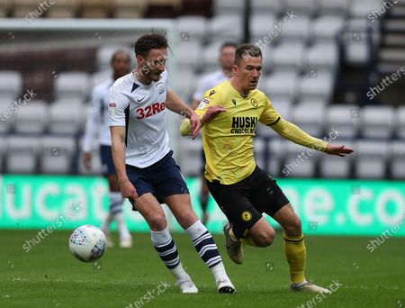15th February 2020; Deepdale Stadium, Preston, Lancashire, England; Championship Football, Preston North End versus Millwall; David Nugent of Preston North End takes on Jake Cooper of Millwall