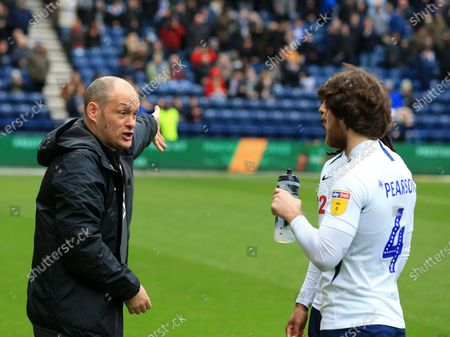 15th February 2020; Deepdale Stadium, Preston, Lancashire, England; Championship Football, Preston North End versus Millwall; Preston North End manager Alex Neill issues last minute instructions to Ben Pearson of Preston North End before the kick off