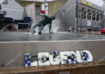 15th February 2020; Deepdale Stadium, Preston, Lancashire, England; Championship Football, Preston North End versus Millwall; a floral tribute in front of the Sir Stanley Matthews fountain on the approach to the stadium