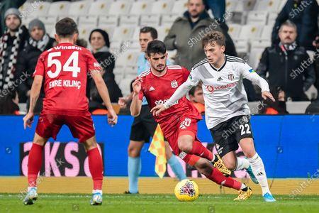 (L-R) Emre Kilinc of Demir Grup Sivasspor, Fatih Aksoy of Demir Grup Sivasspor, Adem Ljajic of Besiktas JK