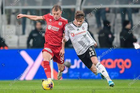 (L-R) Ziya Erdal of Demir Grup Sivasspor, Adem Ljajic of Besiktas JK