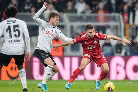 (L-R) Mohamed Elneny of Besiktas JK, Adem Ljajic of Besiktas JK, Emre Kilinc of Demir Grup Sivasspor