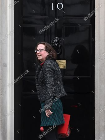 Britain's Leader of the House of Lords Natalie Evans arrives at n10 Downing street for a cabinet meeting in London, Britain, 14 February 2020. It is the first Cabinet meeting since British Prime Minister Boris Johnson reshuffled ministerial posts on 13 February.