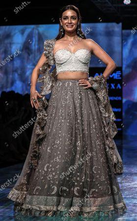 Bollywood actress Dia Mirza presents a creation by Indian designers Sama, Meera and Muzaffar Ali during the Lakme Fashion Week (LFW) Summer/Resort 2020 in Mumbai, India, 14 February 2020.