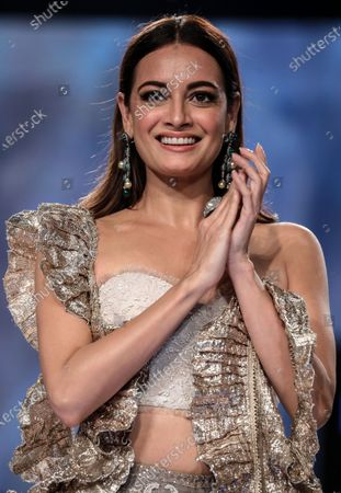 Stock Image of Bollywood actress Dia Mirza presents a creation by Indian designers Sama, Meera and Muzaffar Ali during the Lakme Fashion Week (LFW) Summer/Resort 2020 in Mumbai, India, 14 February 2020.