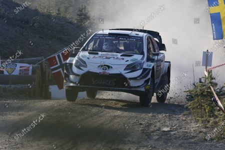 Jari-Matti Latvala and codriver Juho Hanninen of Finland compete in their Toyota Yaris WRC during stage three of the Rally of Sweden as part of the FIA World Rally Championship (WRC) in Torsby, Sweden, 14 February 2020.