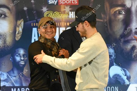 David Avanesyan (L) and Josh Kelly share a joke during a Press Conference at Glaziers Hall on 14th February 2020