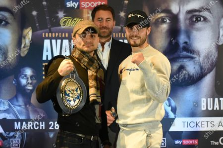 David Avanesyan (L) and Josh Kelly during a Press Conference at Glaziers Hall on 14th February 2020