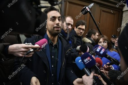French member of Parliament Mounir Mahjoubi speaks to media as he leaves the La Republique En Marche (LaREM) party's headquarters after a meeting to designate a new candidat for the Paris municipal election in Paris, France, 14 February 2020. According to media reports, former candidat Benjamin Griveaux has dropped his candidacy in the Paris municipal elections over publication of sexual imagery allegedly related to him on social media.